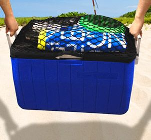 Carrying everything you need for a day at the beach can be a handful. Towels, sandals, sun screen, frisbee, books and anything else you need for a day at the beach can be slipped into the cooler carrier to help keep your hands free. The cooler carrier is an elastic fabric sleeve that can be slipped onto the lid of the cooler to help carry your stuff to the beach.