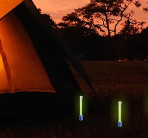 Light your way through the night with glowsticks using our glowstick holders. Place them in the ground to mark your way home, avoid dangerous areas of the woods or simply maker your camping territories.