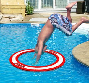 A must have product for all the lucjky households who have pools.  The Loop is an aquatic foam ring used for diving and pool games. The ring is made of a soft foam and will break apart on contact.