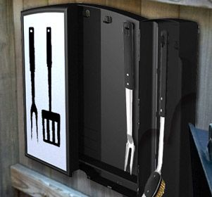 Every BBQ Chef has their special set of BBQ tools which they use to cook their mouth-watering burgers and tender steaks. These tools rarely have a proper place to be stored.  Our outdoor barbeque case is a wall mounted utensil storage unit perfect for keeping all your barbequing tools in one convenient spot. The case can store cooking utensils, barbeque skewers, corn handles and more.