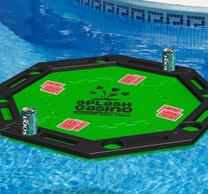Enjoy the sun, the water and a game of cards at your next pool party with Splash Casino. This floating card table is assembled using 5 interlocking foam pieces and disassembles for convenient storage. Splash casino will definitely add a fun twist to your next party or game night.