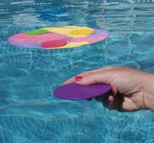 Plays like bocce ball in the water!  Skim discs across the water surface and onto the floating target